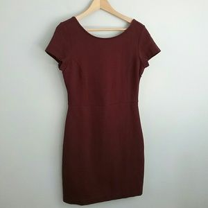 Banana Republic//Maroon Textured Fitted Dress